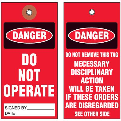 Accident Prevention and Machine Safety Tags