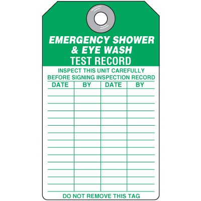 Eyewash and Shower Inspection Tags