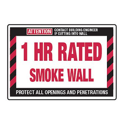 1 Hour Rated Smoke Wall - Fire Wall Warning Signs