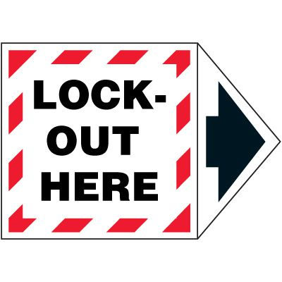 2-Part Arrow Labels - Lock-Out Here