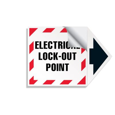 2-Part Arrow Labels - Electrical Lock-Out Point