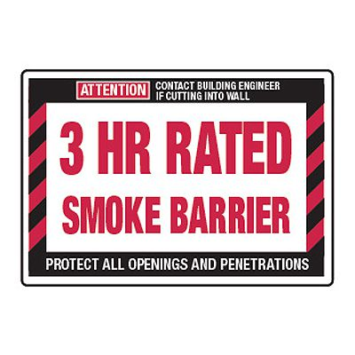 3 Hour Rated Smoke Barrier - Fire Wall Warning Signs