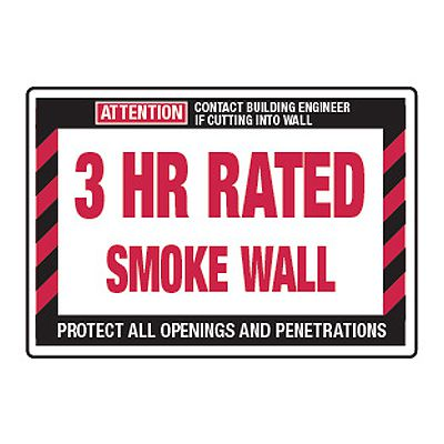 3 Hour Rated Smoke Wall - Fire Wall Warning Signs