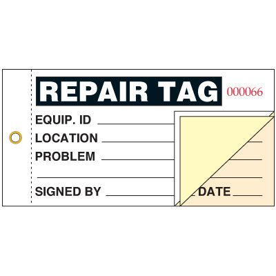 3-part Repair Status Tag