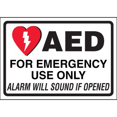 AED Alarm Will Sound Cabinet Label