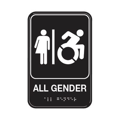 All Gender W/ Dynamic Accessibility - Graphic ADA Braille Tactile Signs