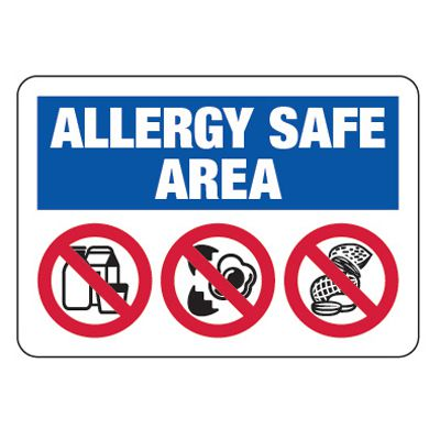 Allergy Safe Area No Nuts, Dairy, Eggs - School Allergy Signs