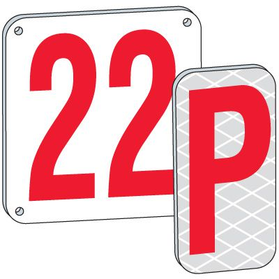 12 Red Aluminum Number And Letter Plates