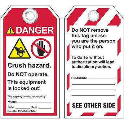 ANSI Crush Hazard Warning Tags