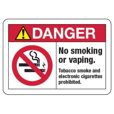 ANSI Header No Smoking or Vaping  Sign (w/ Graphic)