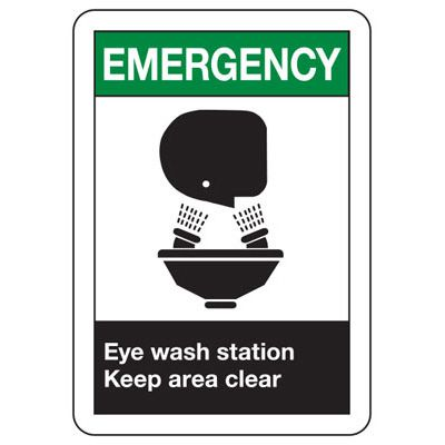 ANSI Signs - Emergency Eye Wash Station Keep Area Clear