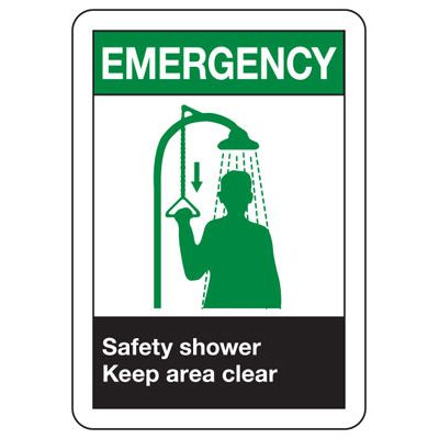 ANSI Signs - Emergency Safety Shower Keep Area Clear