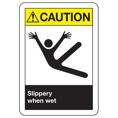 ANSI Signs - Caution Slippery When Wet