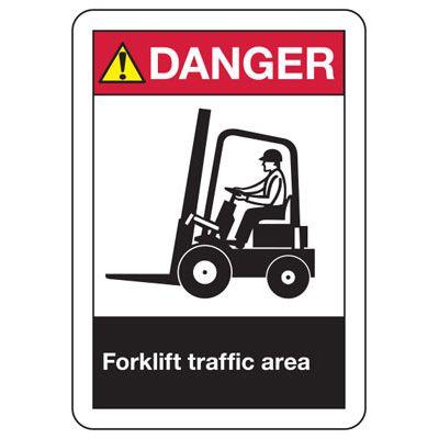 ANSI Signs - Danger Forklift Traffic Area