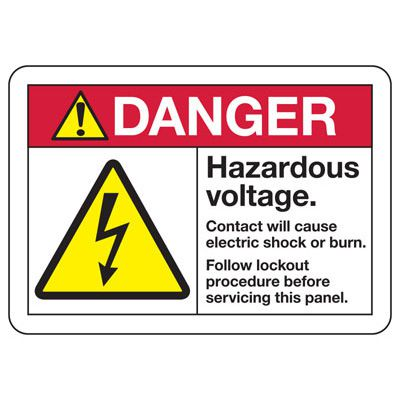 Electrical Safety Signs - ANSI Danger Hazardous Voltage Will Cause Electric Shock