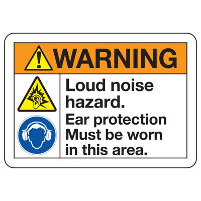 ANSI Safety Signs - Warning Ear Protection Must Be Worn