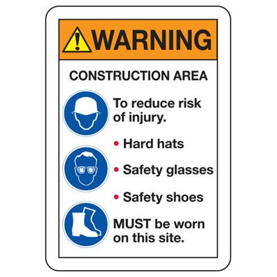 ANSI Safety Signs - Warning Construction Hard Hat