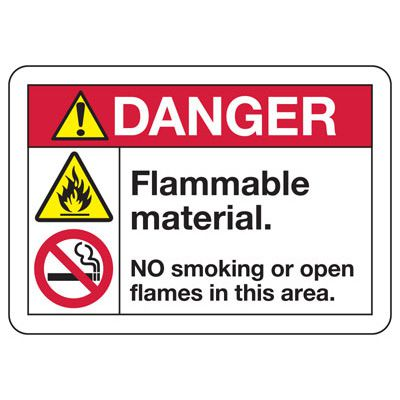 ANSI Safety Signs - Danger Flammable Material