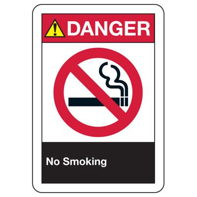 ANSI Danger No Smoking Signs