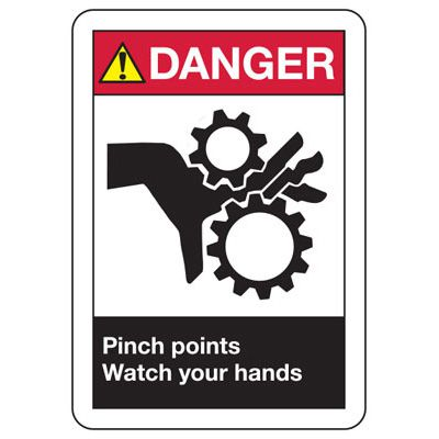 ANSI Danger Pinch Point Signs