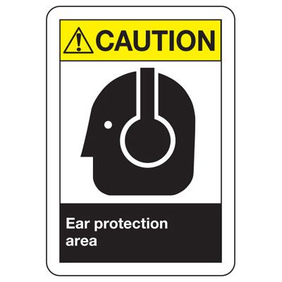 ANSI Caution Ear Protection Signs