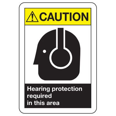 ANSI Caution Hearing Protection Signs
