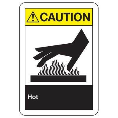 ANSI Caution Hot Signs