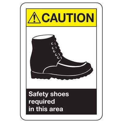 ANSI Caution Safety Shoes Signs