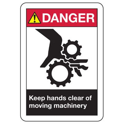 ANSI Danger Keep Hands Clear Signs