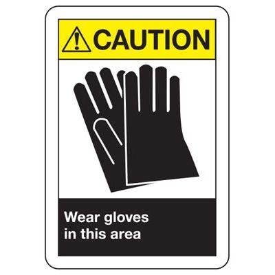ANSI Caution Wear Gloves Signs