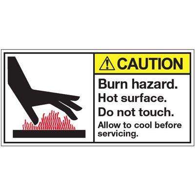 ANSI Warning Labels - Caution Burn Hazard
