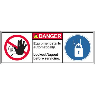 ANSI Warning Labels - Danger Equipment Starts Automatically