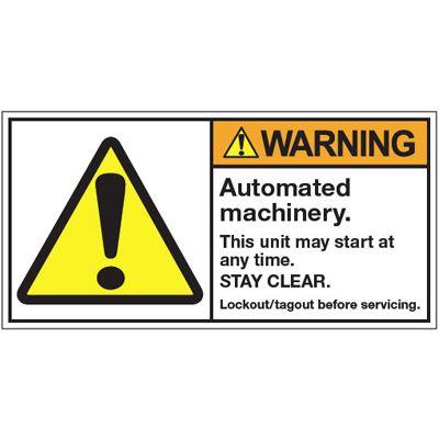 ANSI Warning Labels - Warning Automated Machinery