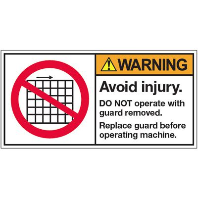 ANSI Warning Labels - Warning Avoid Injury