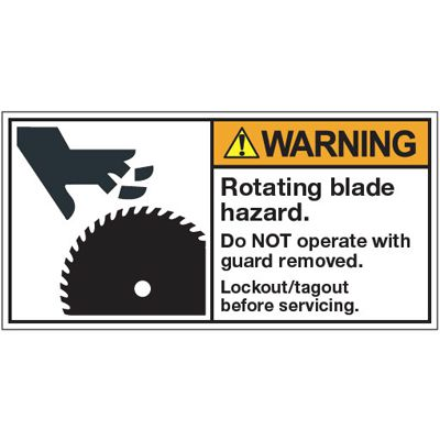 ANSI Warning Labels - Warning Rotating Blade Hazard