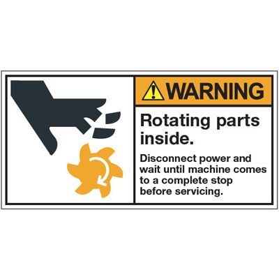 ANSI Warning Labels - Warning Rotating Parts Inside