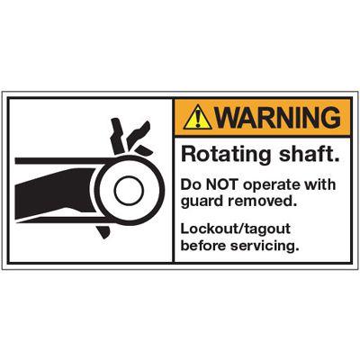 ANSI Warning Labels - Warning Rotating Shaft