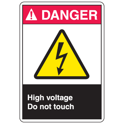 ANSI Z535 Safety Labels - Danger High Voltage Do Not Touch