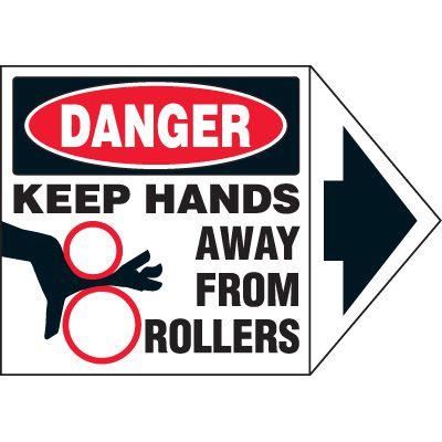 Arrow Labels - Danger Keep Hands Away From Rollers