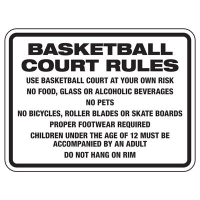Basketball Court Rules - Athletic Facilities Signs