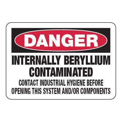 Beryllium Contaminated Contact - Chemical Warning Signs