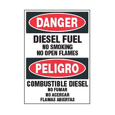 Bilingual Chemical Safety Labels - Danger Diesel Fuel