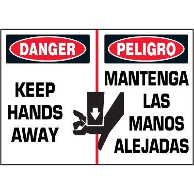 Bilingual Hazard Labels - Danger Keep Hands Away