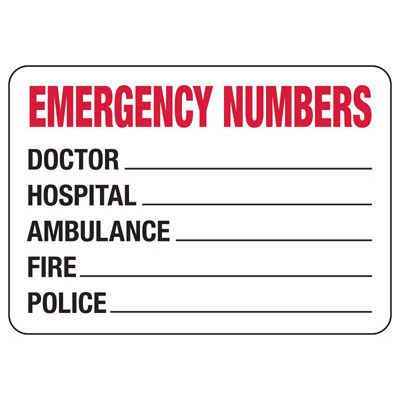 Emergency Numbers Biohazard Sign