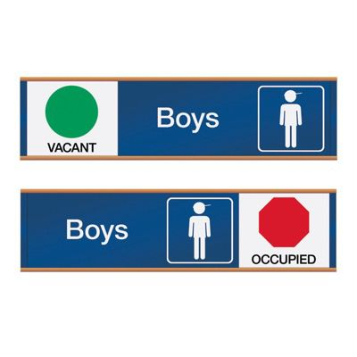 Boys Vacant/Occupied - Engraved Restroom Sliders