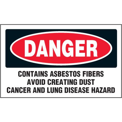 Danger Contains Asbestos Label