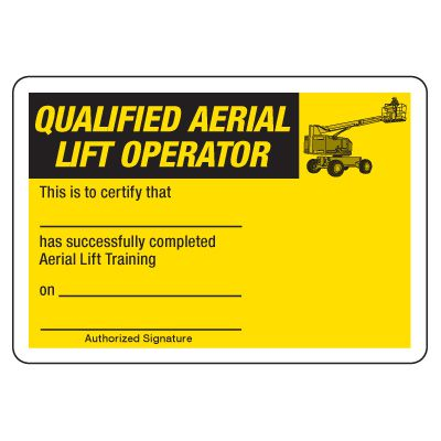 Certification Photo Wallet Cards - Qualified Aerial Lift Operator