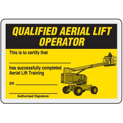 Qualified Aerial Lift Operator Card