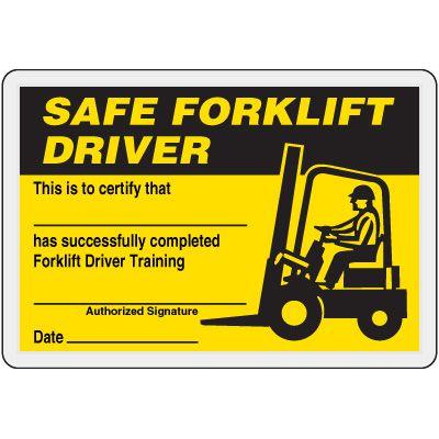 Safe Forklift Driver Card