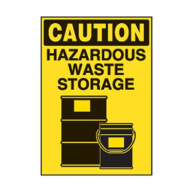 Chemical Safety Labels - Caution Hazardous Waste Storage